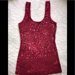 Express Red Sequin Tank Top small